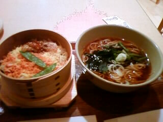 わっぱ飯と山菜ソバのセット